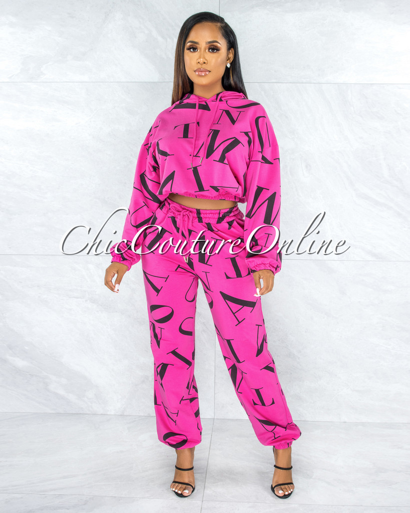 Ordway Hot Pink Black Letter Print Jogger Pants Hoodie Set