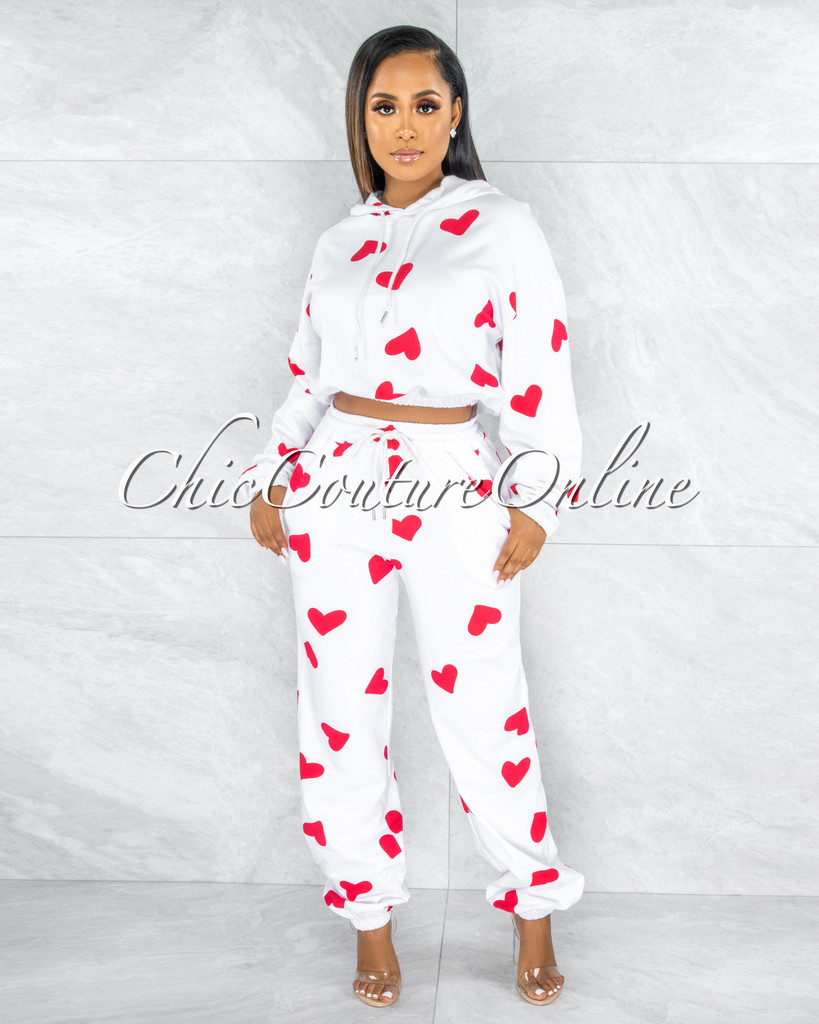 Love Off-White Red Hearts Print Jogger Pants Hoodie Set