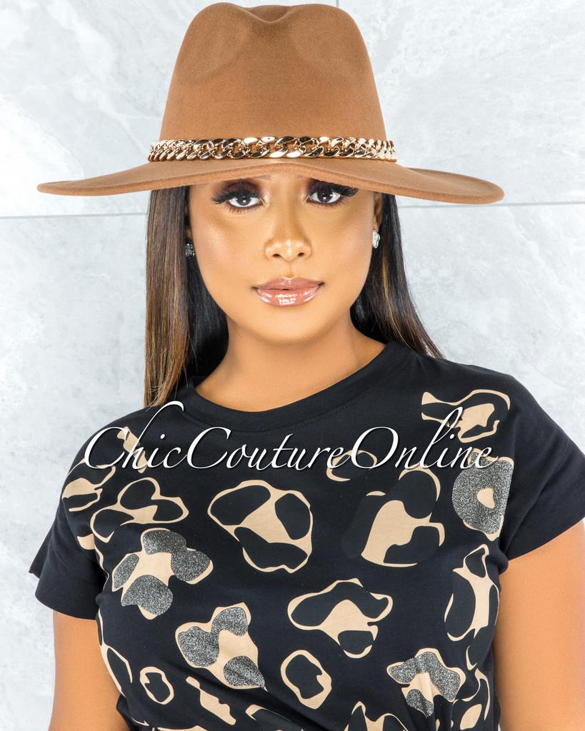 Perkins Camel Gold Link Faux Suede Fedora Hat