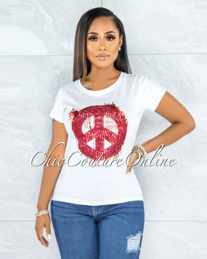 Ananda White Red Sequins Peace Sign T-Shirt