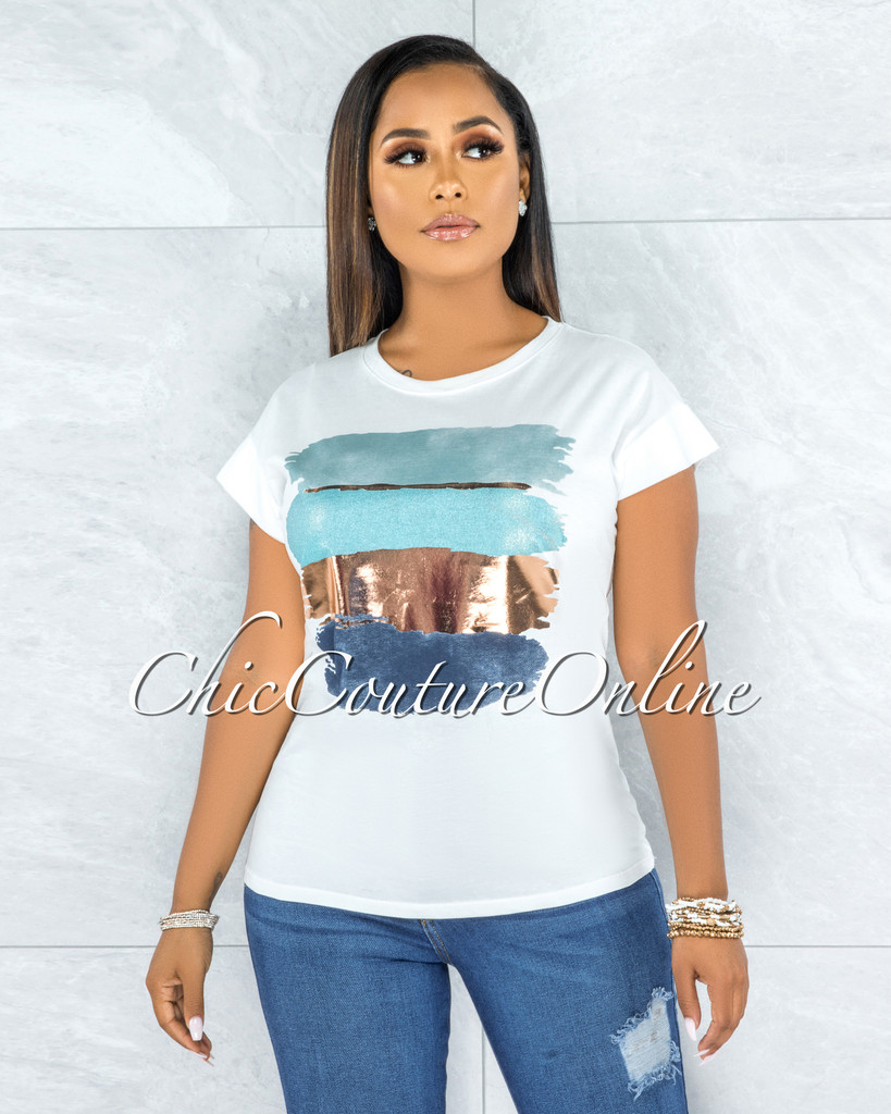 Bian Off-White Aqua Rose Gold Graphic T-Shirt