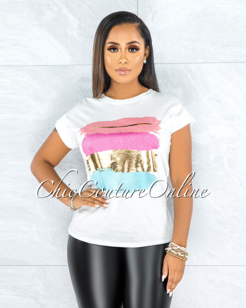 Bian Off-White Pink Gold Graphic T-Shirt