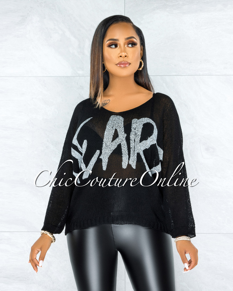 Coleman Black HEART Graphic Knit Sheer Sweater