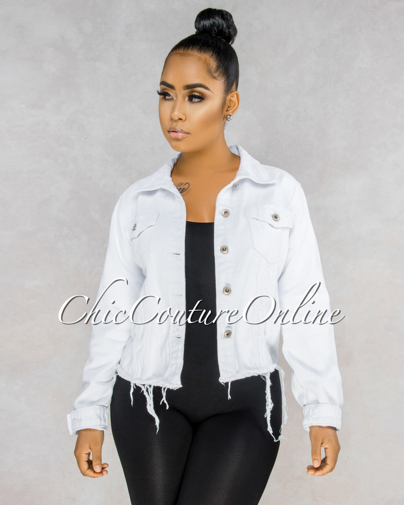 Briella White Denim Back Neon Graphics CURVACEOUS Jacket