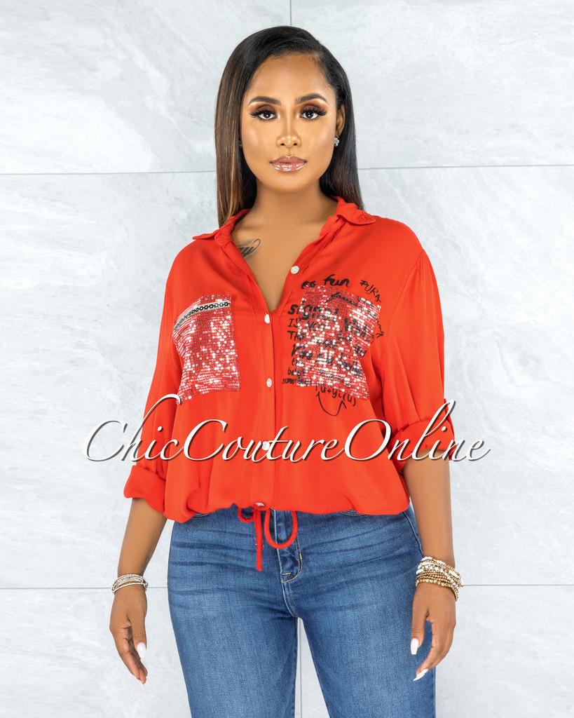 Jaydra Red Silver Shimmer Sequins Pockets Shirt