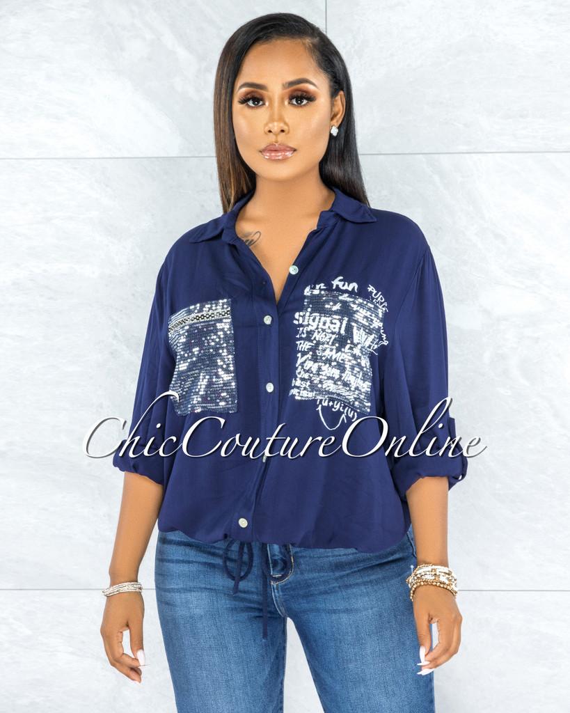 Jaydra Navy Blue Silver Shimmer Sequins Pockets Shirt