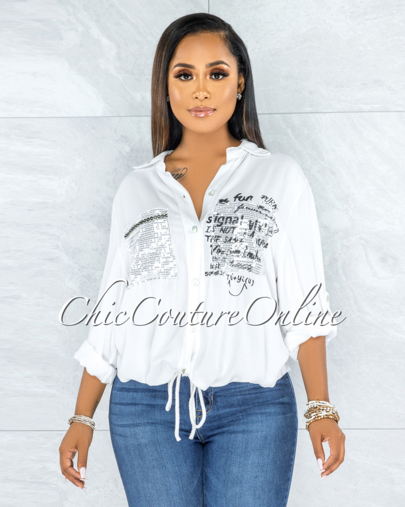 Jaydra Off-White Silver Shimmer Sequins Pockets Shirt
