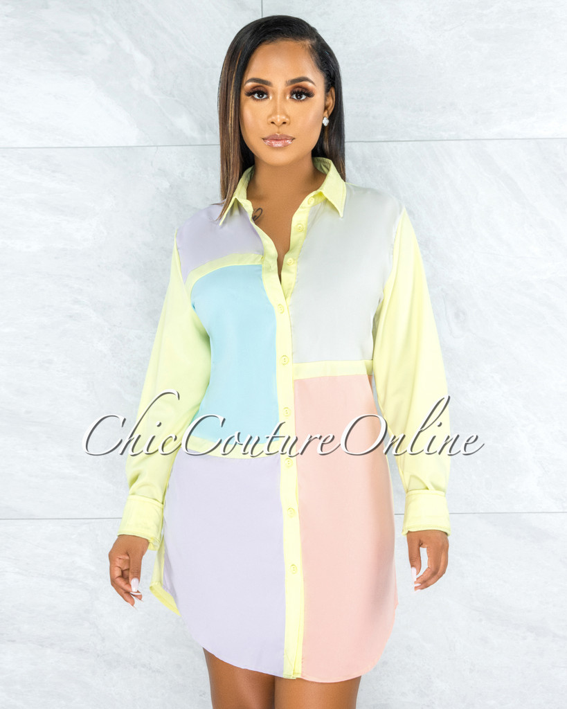 Olidie Pastel Tones Retro Block Color Shirt Dress