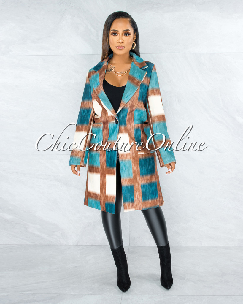 Ethel Brown Turquoise Print Double Breasted Coat