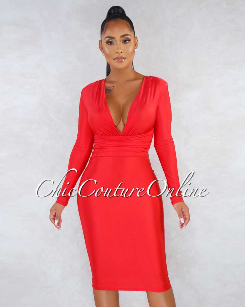 Denise Red V Neck Draped Waist Midi Dress