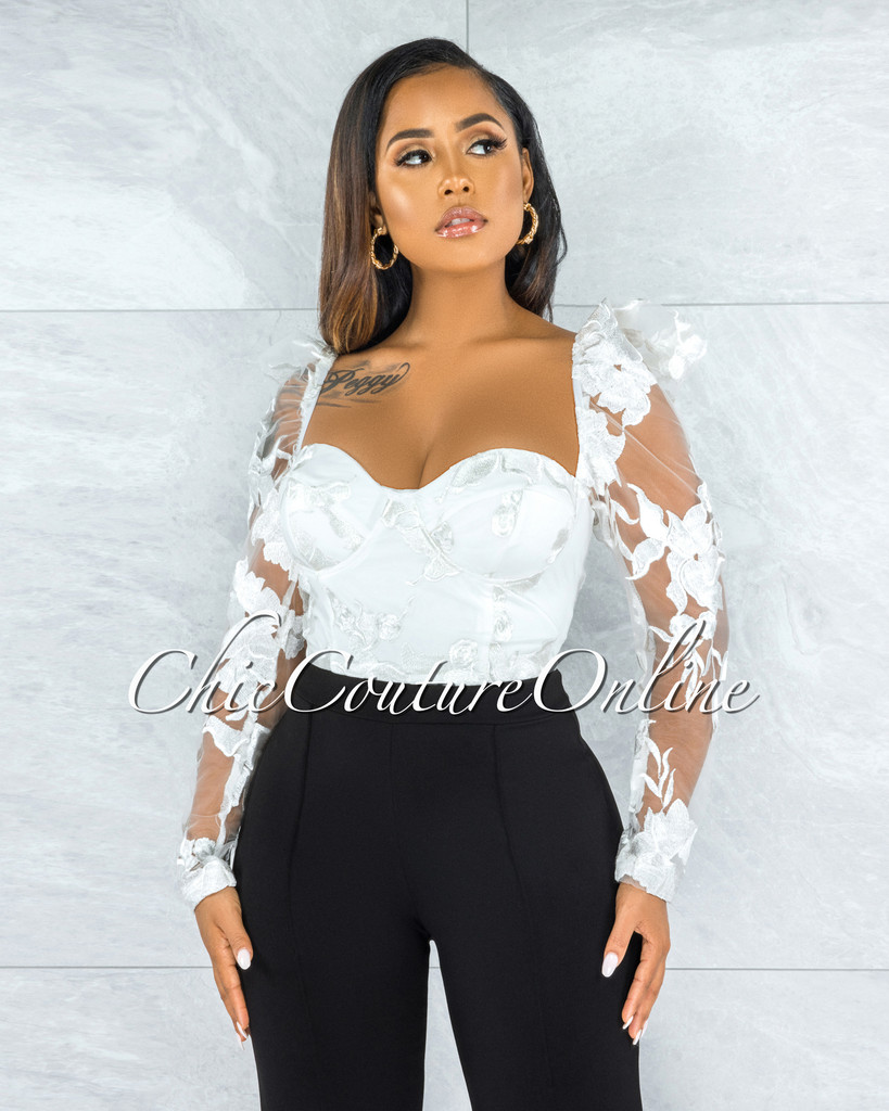 Sabana Off-White Padded Cups Embroidery Top