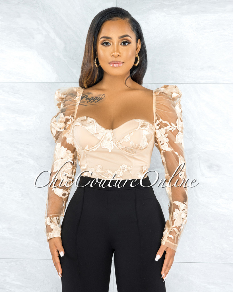 Sabana Nude Padded Cups Embroidery Top