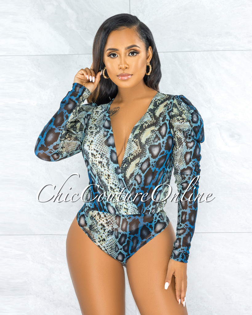 Gytha Blue Black Snake Print Mesh Sheer Bodysuit