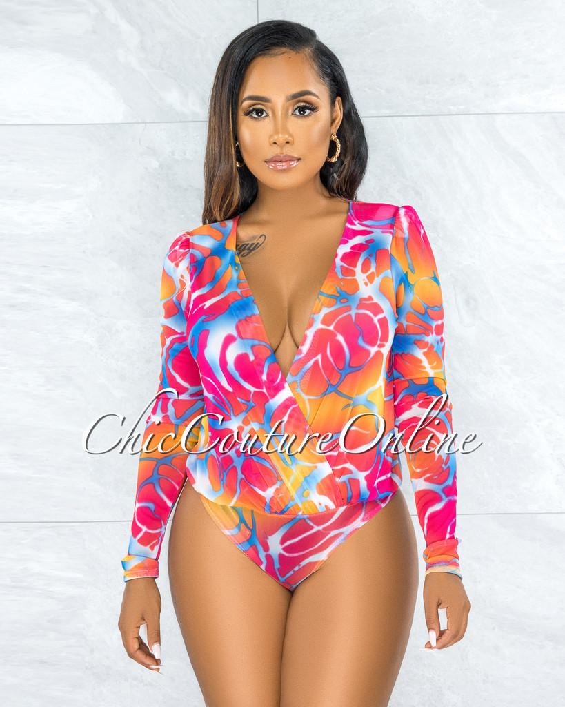 Adolpha Coral Print Mesh Sheer Bodysuit