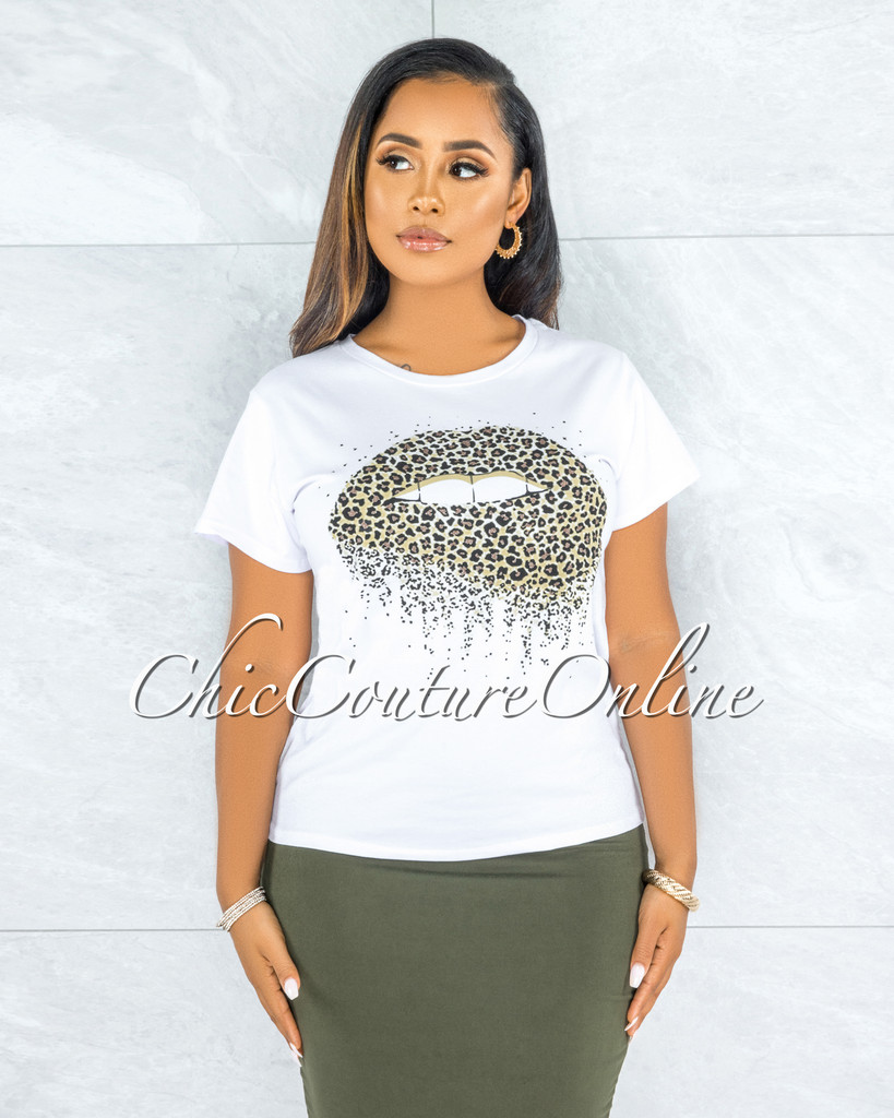 Bayou White Black Shimmer Leopard Lips Graphic T-Shirt