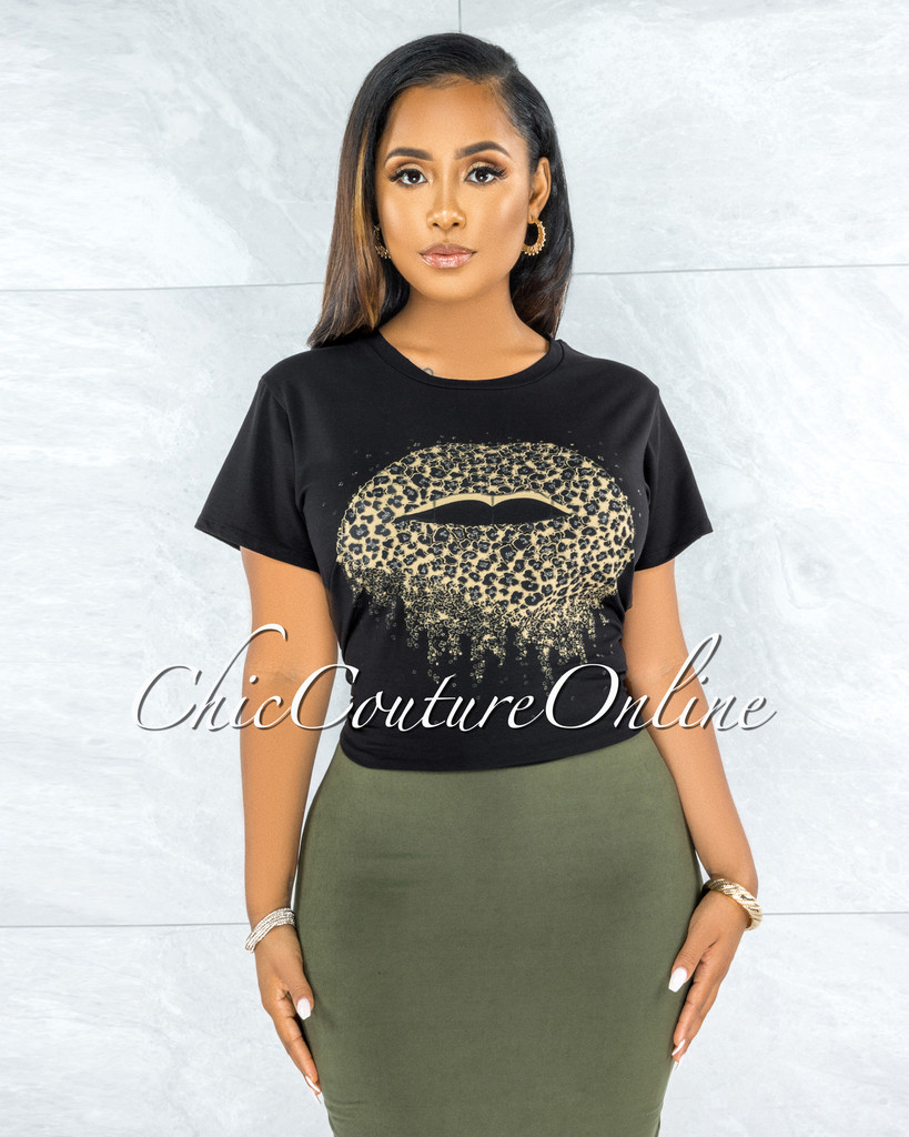Bayou Black Shimmer Leopard Lips Graphic T-Shirt