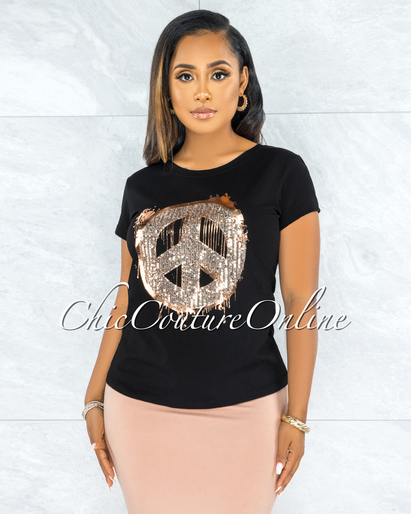 Ananda Black Rose Gold Sequins Peace Sign T-Shirt