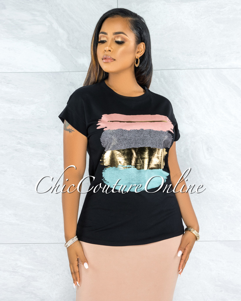 Bian Black Pink Gold Graphic T-Shirt