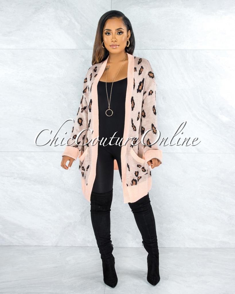 Reece Peach Leopard Print Knit Cardigan