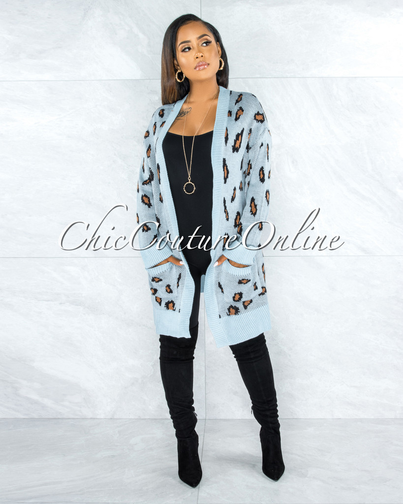Reece Baby Blue Leopard Print Knit Cardigan