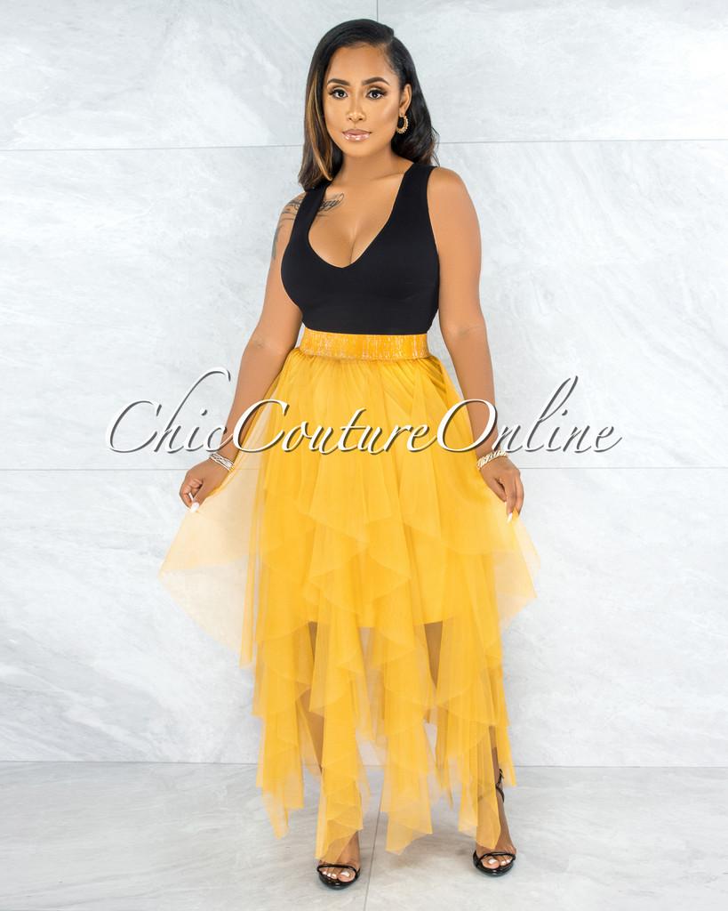 Vittoria Mustard Yellow Tulle Ruffle Maxi Skirt