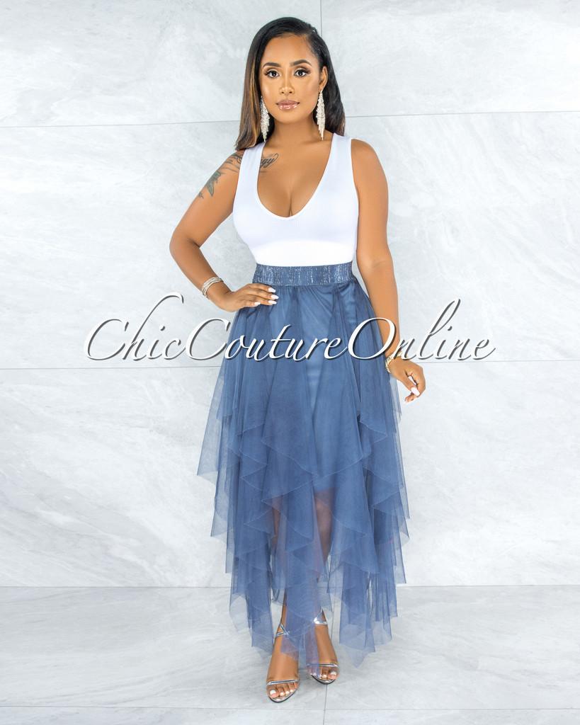 Vittoria Steel Blue Tulle Ruffle Maxi Skirt