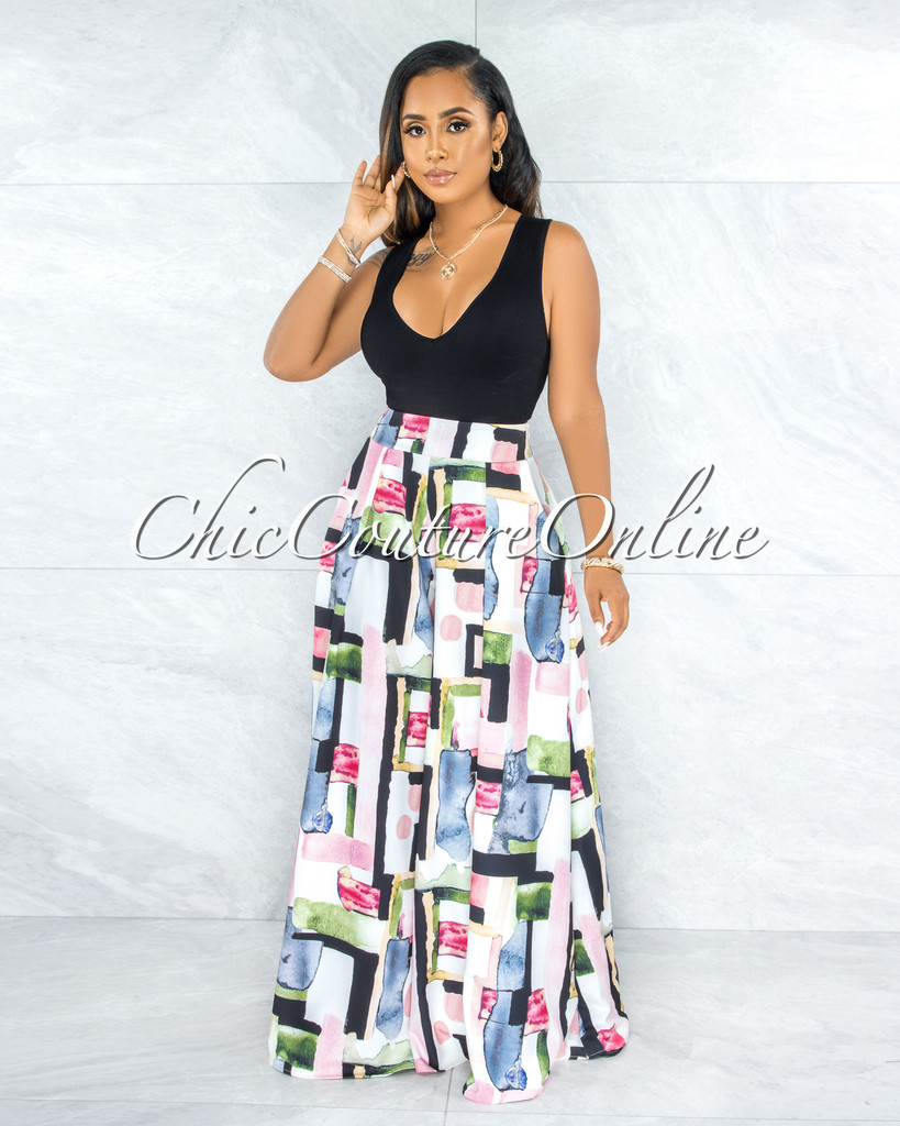 Kesara Off-White Pink Black Print Pleated Wide Pants