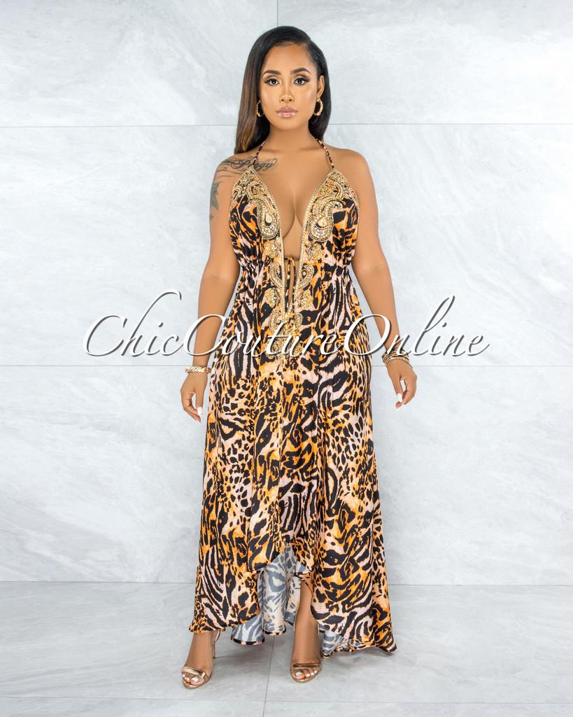 Ladonna Leopard Print Luxe Embellishment Halter Maxi Dress