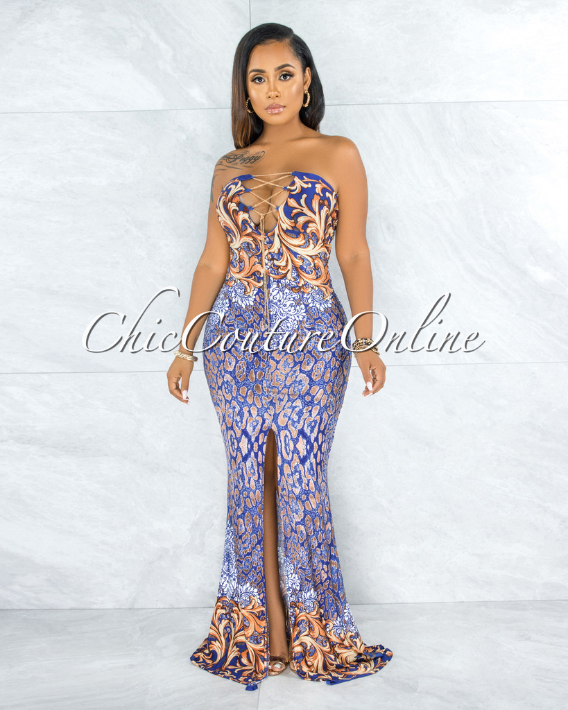 Odakota Blue Gold Print Gold Chain Lace-Up Maxi Dress