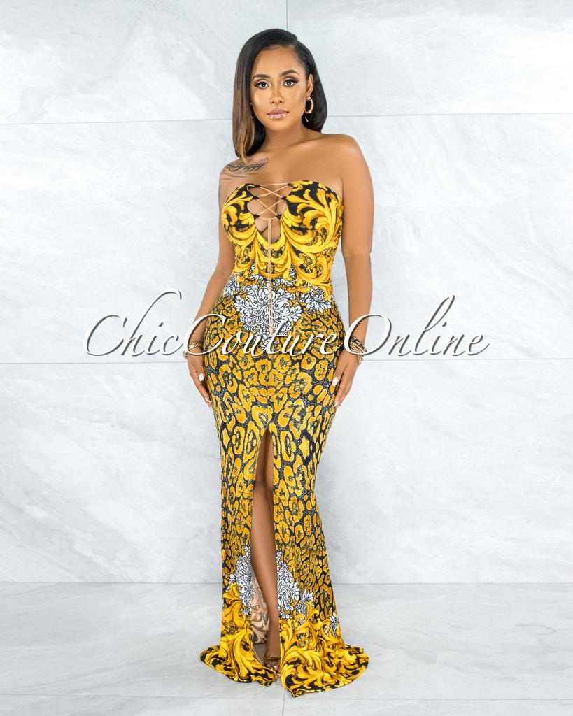 Odakota Black Gold Print Gold Chain Lace-Up Maxi Dress