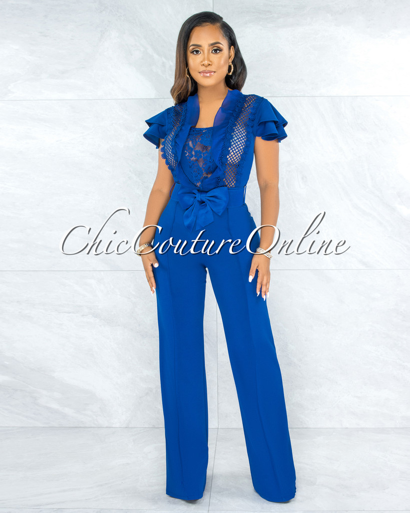 Kasturi Royal Blue Crochet Accent Bow Belt Jumpsuit