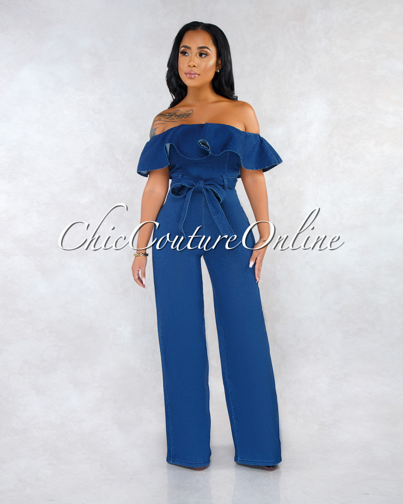 Basler Dark Denim Ruffle Off-The Shoulder Jumpsuit