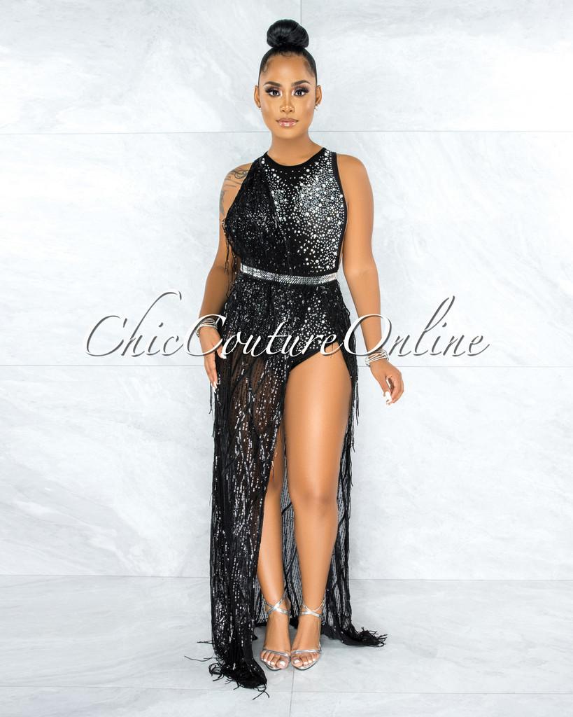 Louvain Black Mesh Rhinestones Pearl & Feathers Bodysuit Dress