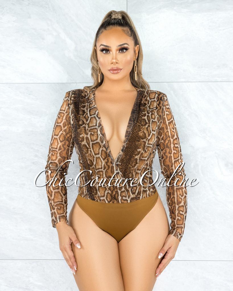 Gaby Brown Snake Print Wrap Bodysuit