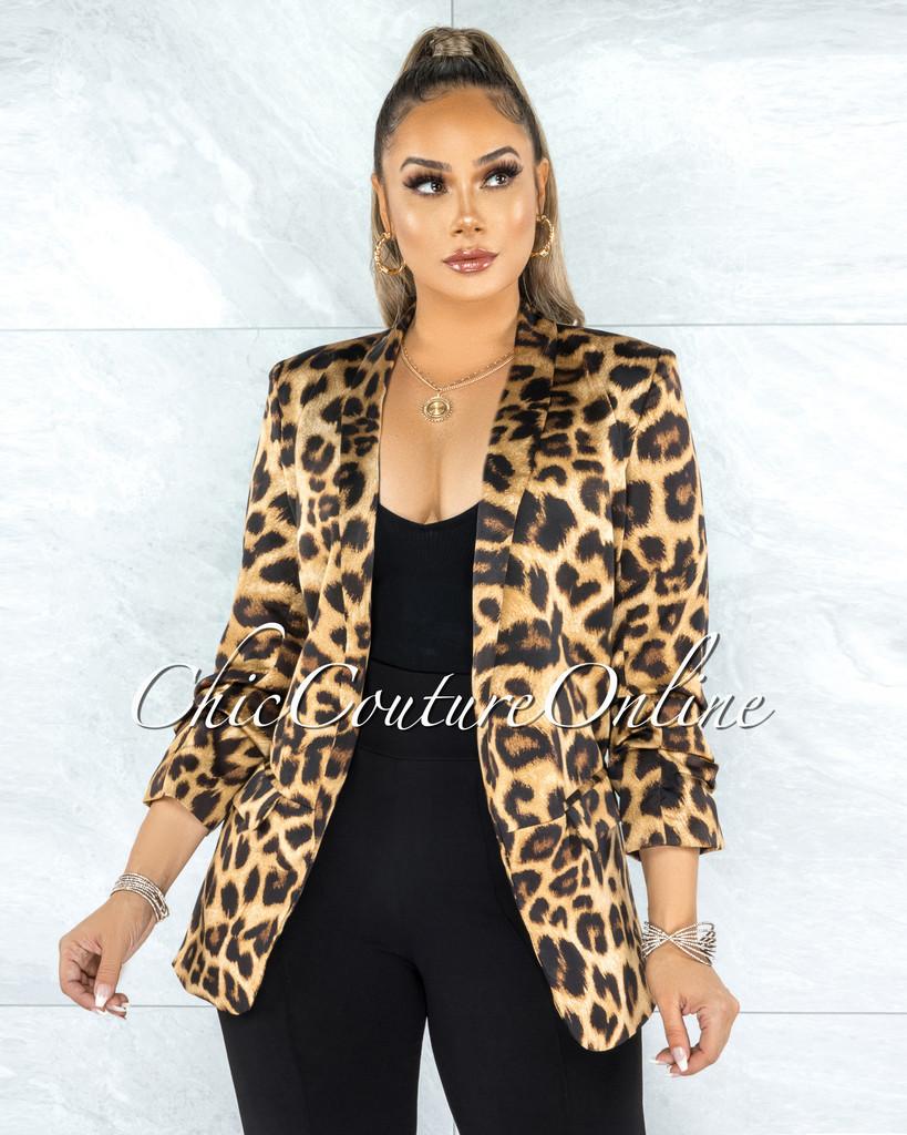 Kirati Brown Leopard Print Boyfriend Blazer