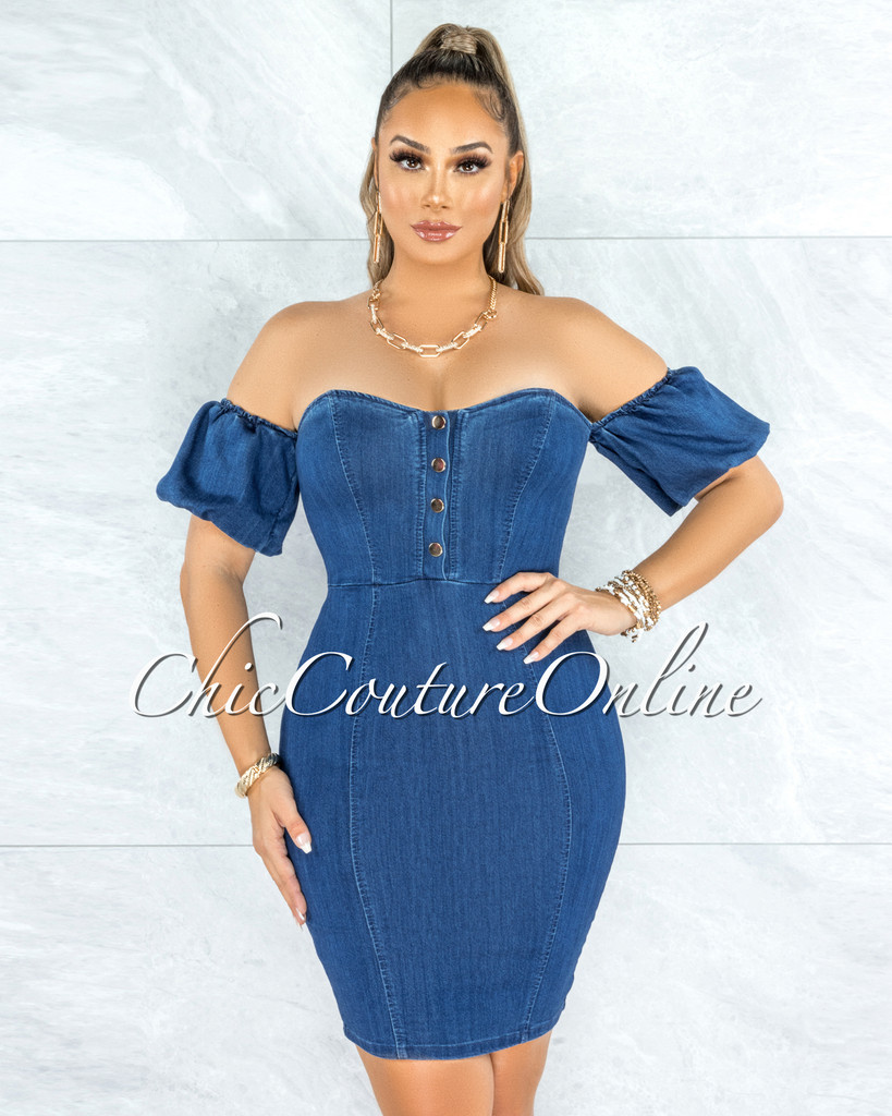 Hobson Dark Denim Bubble Sleeves Dress