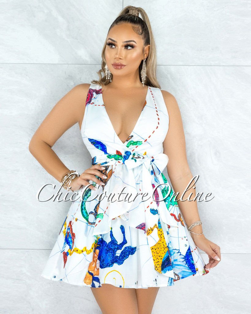 Armada White Multi-Color Print Front Tie Skater Dress