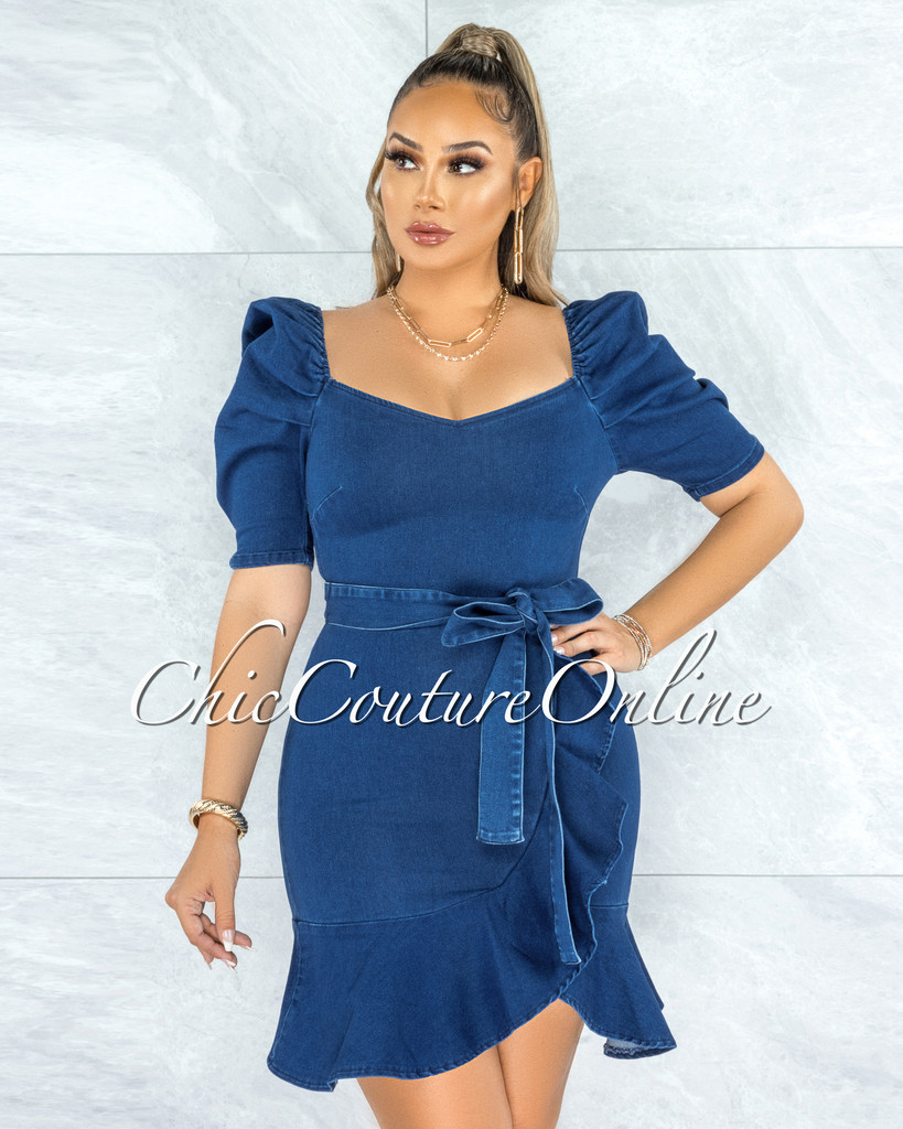 Molan Dark Denim Bubble Sleeves Ruffle Dress