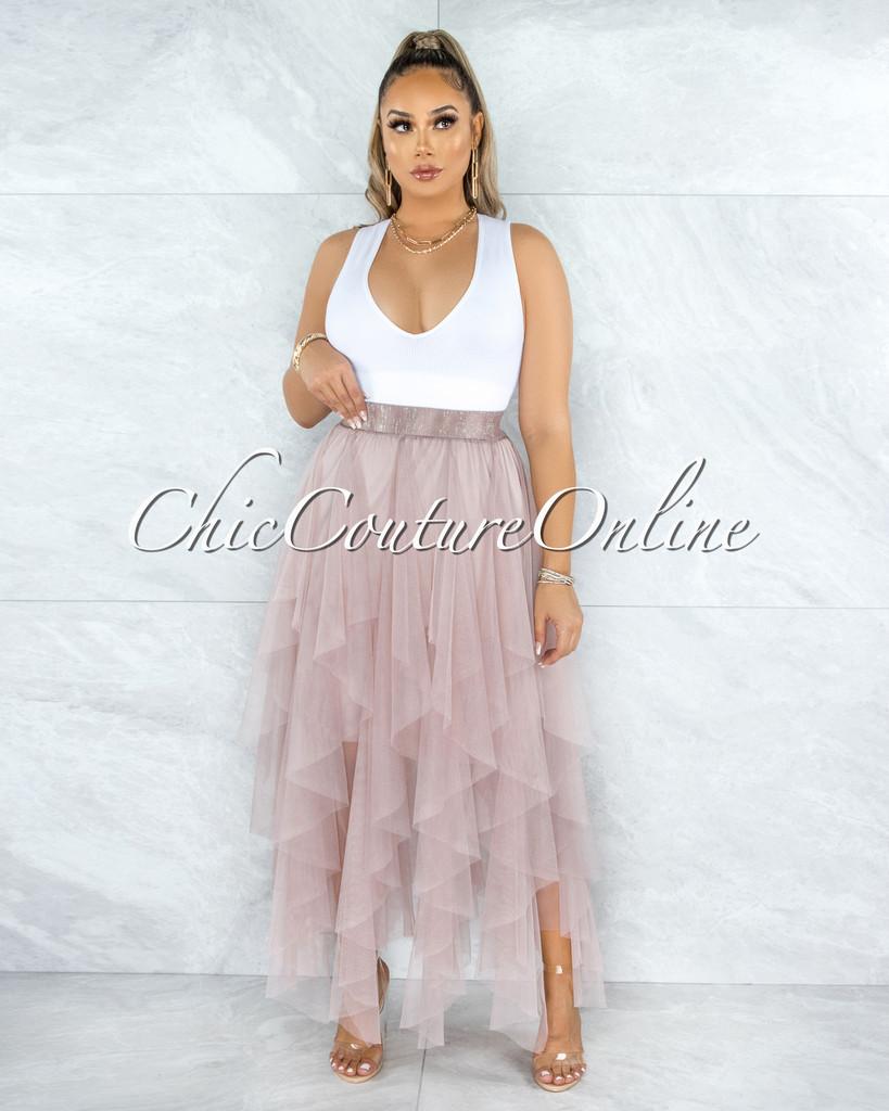 Vittoria Dusty Pink Tulle Ruffle Maxi Skirt