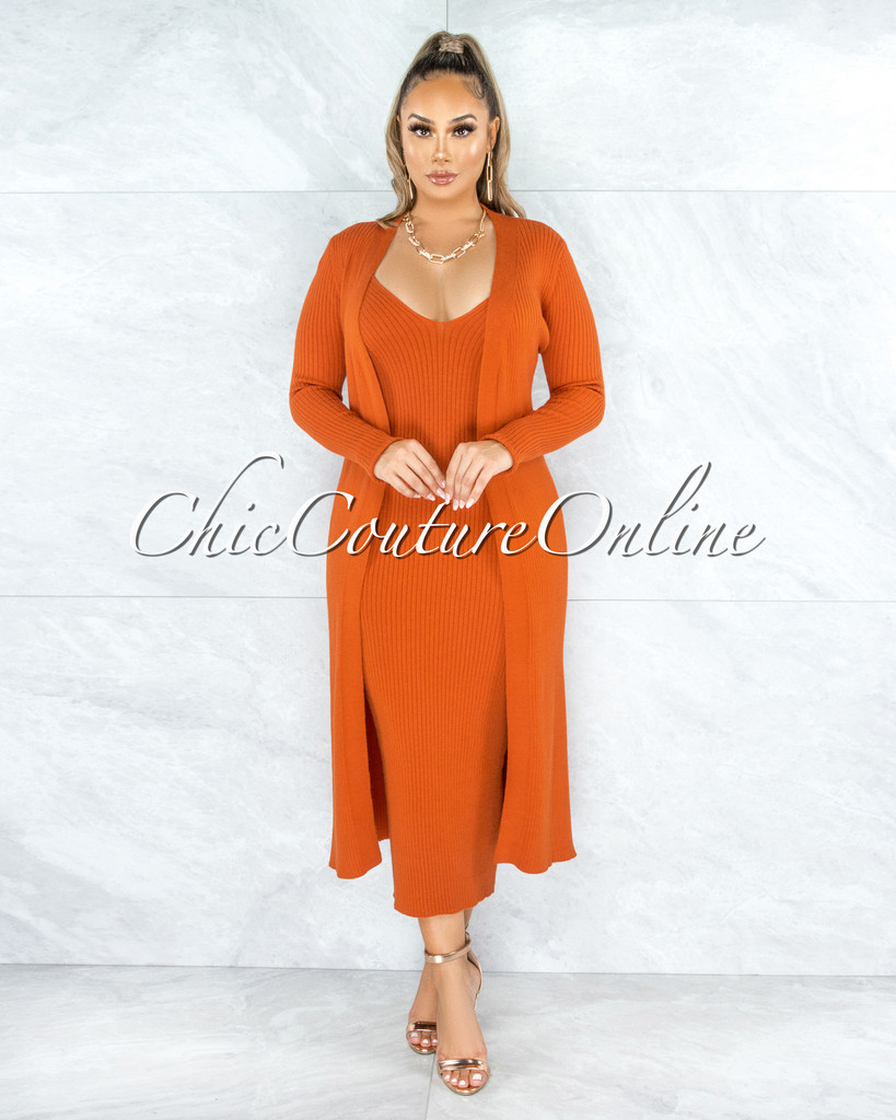 Lodur Rust Ribbed Midi Tank Dress & Duster Set