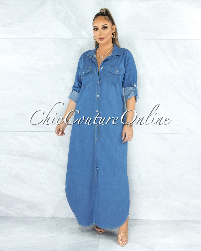 Foxler Light Denim Long Sleeves Maxi Shirt Dress