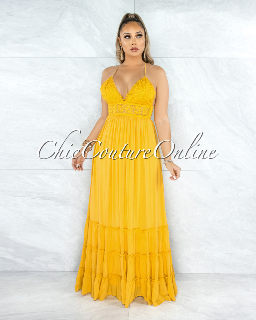 Nadalia Mustard Yellow Crochet See-Through Waist Maxi Dress