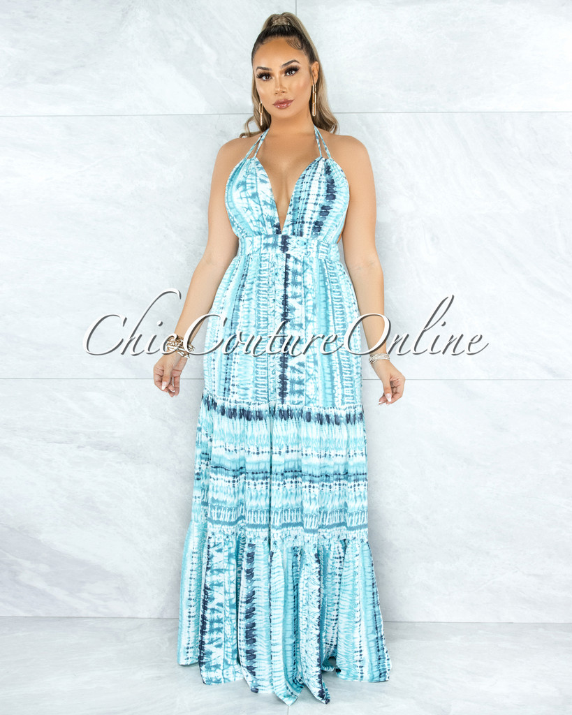Kurtis Aquamarine Tie-Dye Open Back Halter Maxi Dress