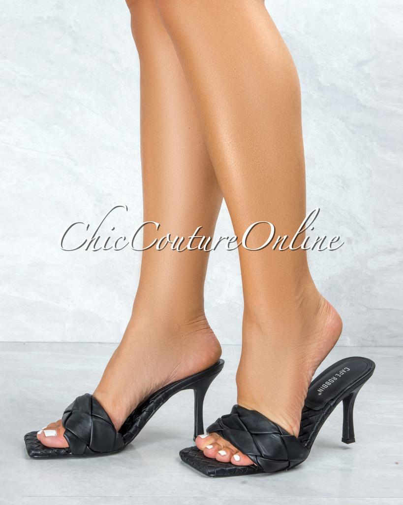Wave It Black Braided Upper Square Toe Heels