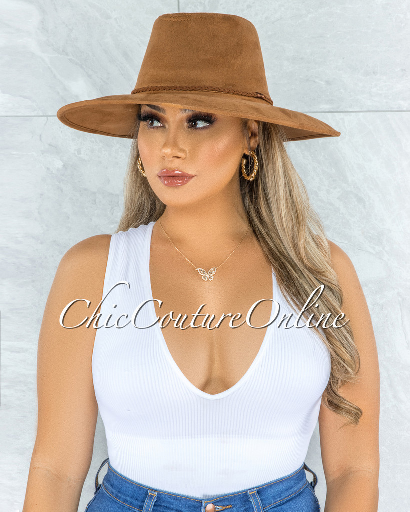 Gipsy Camel Brown Braid Faux Suede Bush Hat