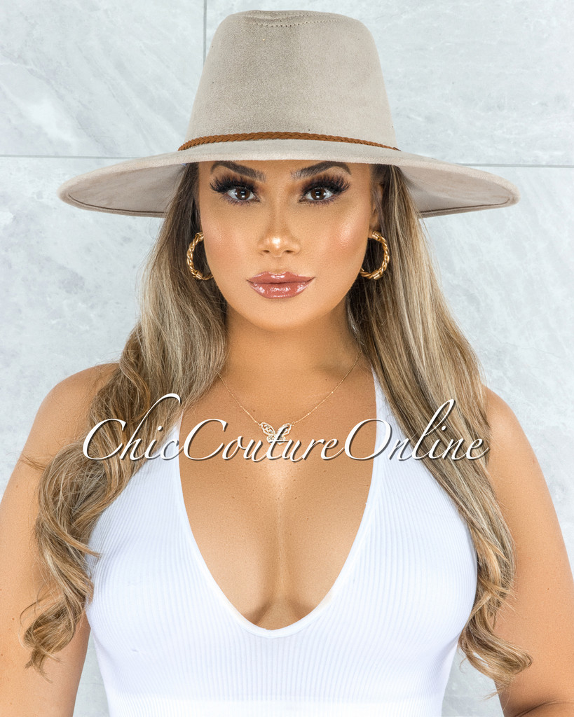 Gipsy Ivory Brown Braid Faux Suede Bush Hat