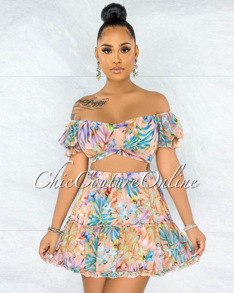 Neverland Blush Floral Print Ruffle Skirt Two Piece Set
