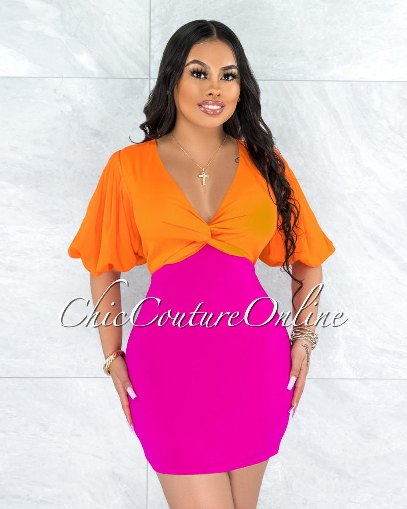 Sayonna Orange Magenta Two-Tone Front Knot Dress