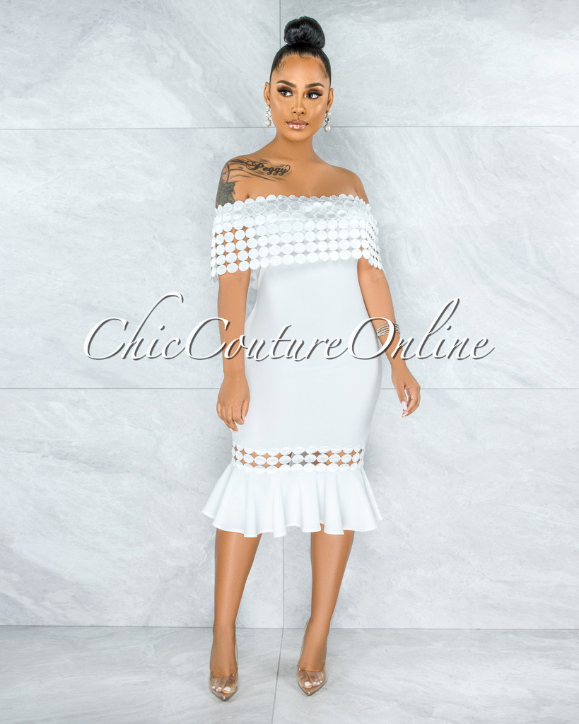 Darlina Off-White Eyelet Ruffle Midi Dress