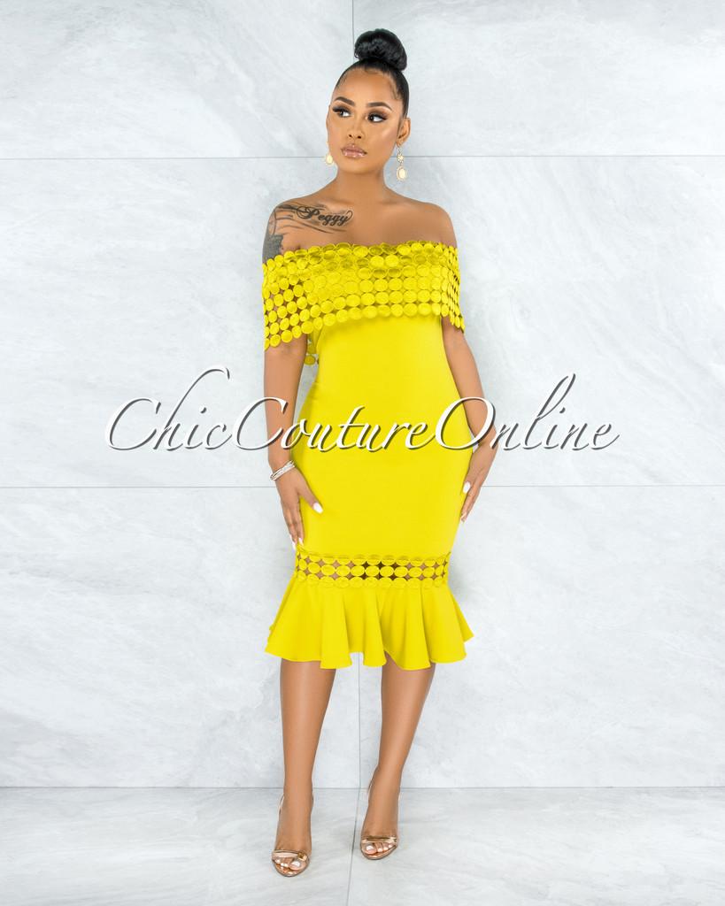 Darlina Lemon Eyelet Ruffle Midi Dress
